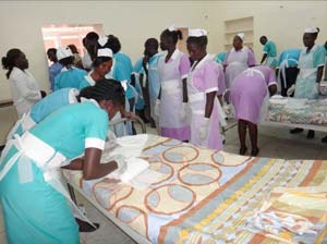 nurses prepare beds for burn victims