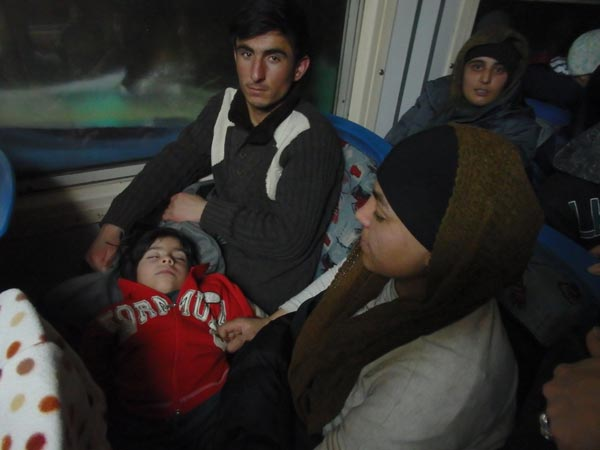 man on train with child