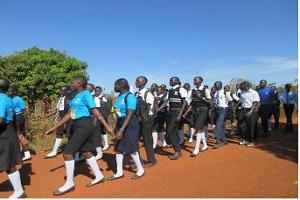 school kids in uniform marching