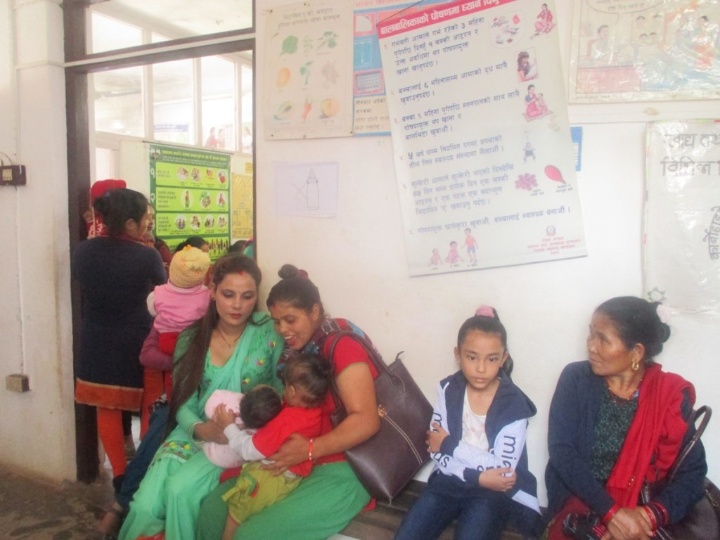Patients waiting for consultations at one of the RMF-supported MCH clinics in Palpa