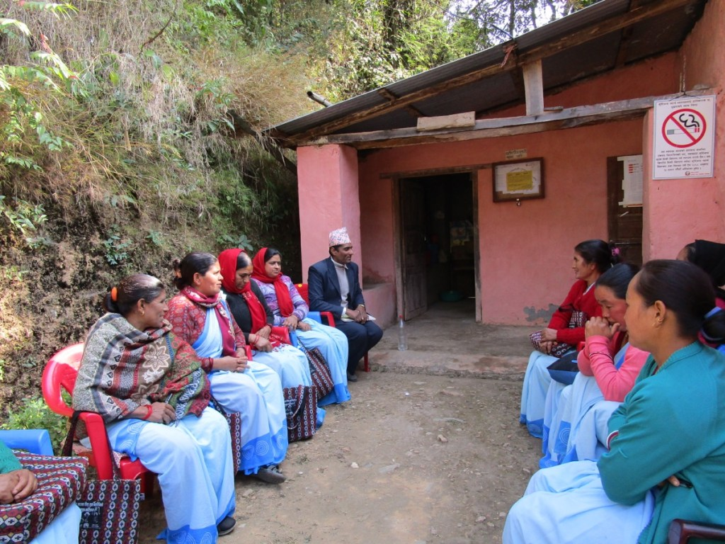 Monthly meeting with Female Community Health Volunteers (FCHVs) at the MCH satellite clinic in Darlamdanda