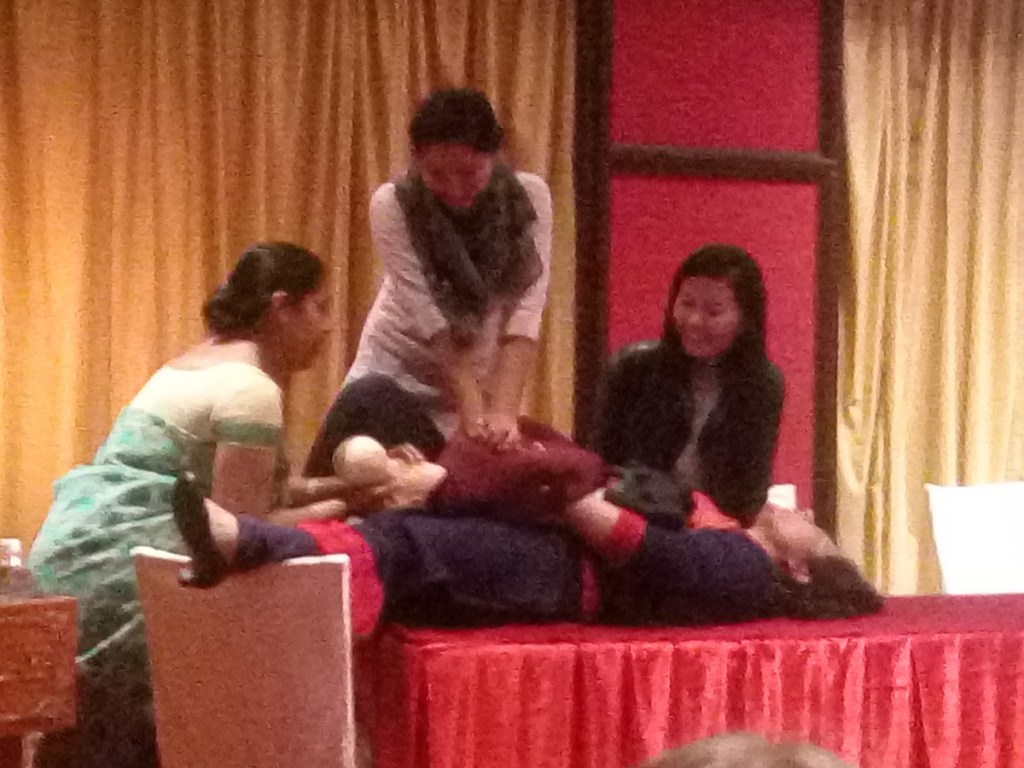 Laerdal team demonstrating a simulation exercise during the workshop