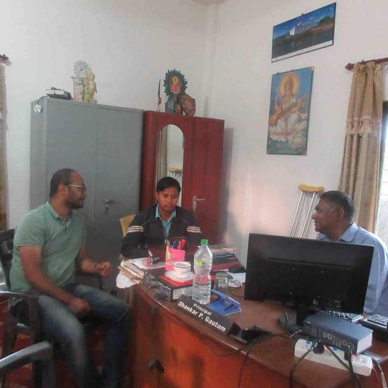 RMF Nepal's Gaurav Pradhan (left), teacher Virendar Chowdhary (middle), and principal of Karuna Girls' School (right)