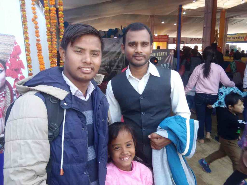 RMF-supported teachers Virendar Chowdhary and Sanjay Kumar Biswokarma at the industrial fair with the students