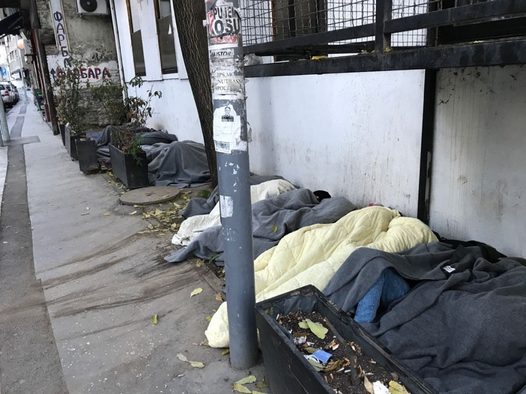 A group of refugees sleeping outside in Belgrade