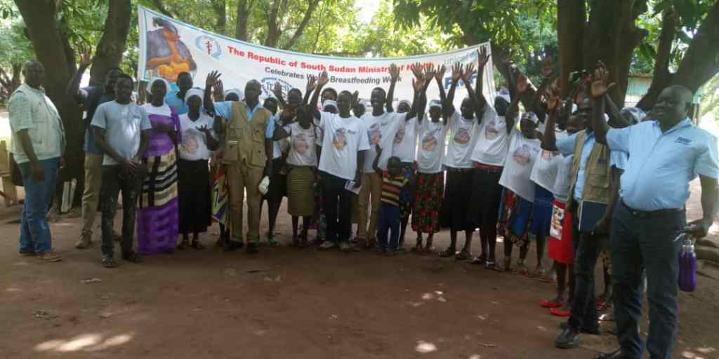 AF South Sudan MTP Q3 2019 RMF team in a happy group photo after grand celebartion of the breastfeeding week