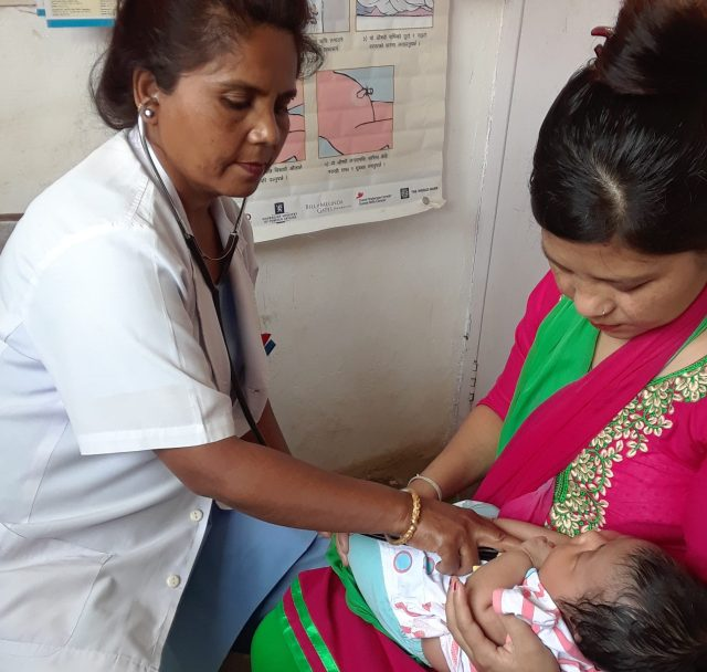 Nurse assessing a child at the clinic