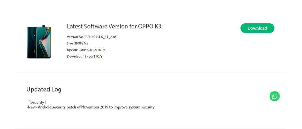 OPPO K3 NovemberSecurity Patch Update Rolling Out