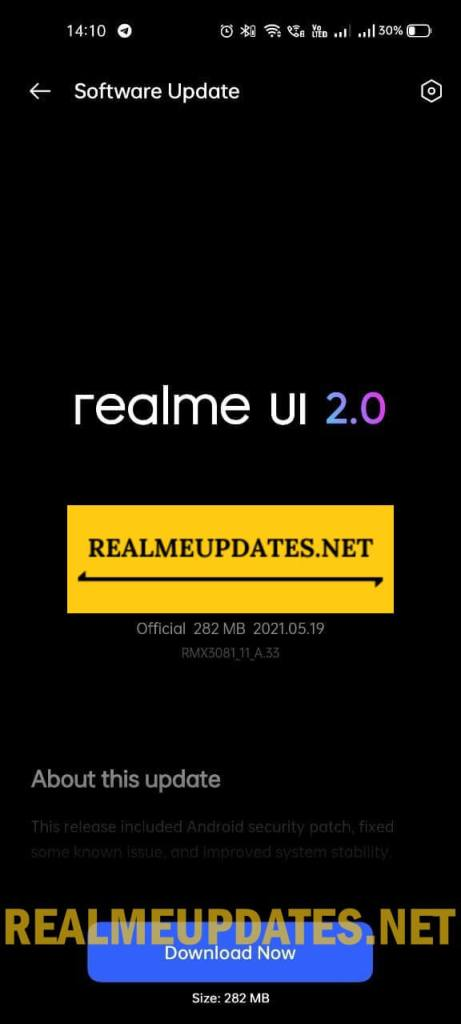 Realme 8 Pro May 2021 Security Update Screenshot - Realme Updates