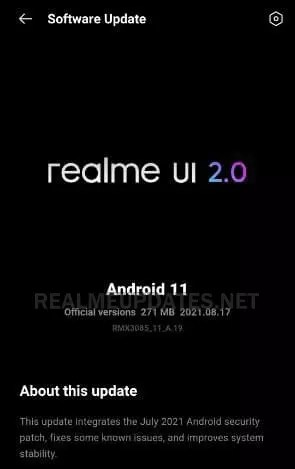 Realme 8 July 2021 Security Update - Realme Updates