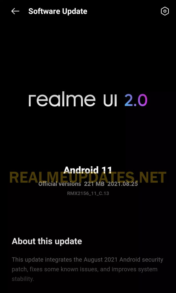 Realme Narzo 30 August 2021 Security Update Screenshot - Realme Updates