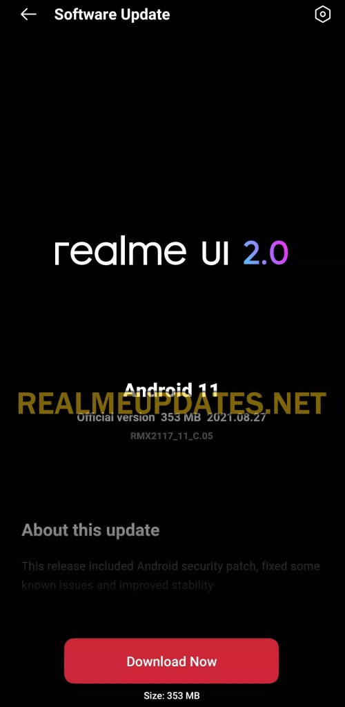 Realme Narzo 30 Pro August 2021 Security Update Screenshot - Realme Updates