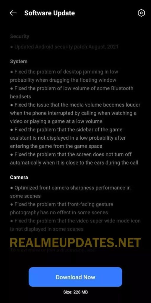 Realme X7 Max August 2021 Security Update Screenshot - Realme Updates