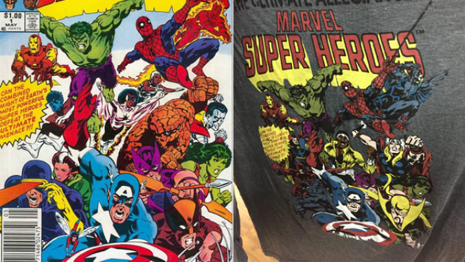 To the left is the unaltered cover. To the right is the altered T-shirt