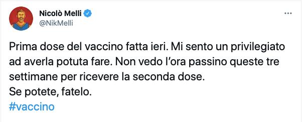 Nicolò Melli riceve la prima dose di Vaccino: Se potete, fatelo