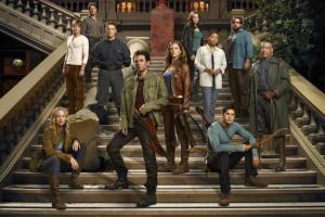 BLACKOUT -- Season: Pilot -- Pictured: (l-r) Anna Lise Phillips as Maggie, Graham Rogers as Danny, Tim Guiee as Ben, David Lyons as Bass Monroe, Billy Burke as Miles, Tracy Spiridakos as Charlie, Andrea Roth as Rachel, Maria Howell as Grace, Zak Orth as Aaron, Giancarlo Esposito as Lt. Neville  -- (Photo by: Nino Munoz/NBC)