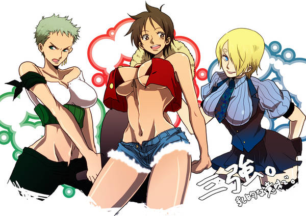 Luffy Soro and Sanji as Rule 63