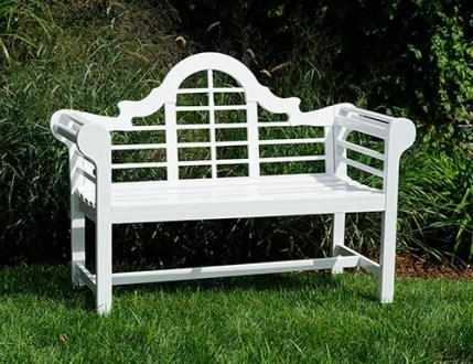 Eucalyptus Wooden Lutyens Teak Patio Love Bench White   Wood Patio     Eucalyptus White Wooden Lutyens Teak Patio Love Bench   Garden Supplies Web