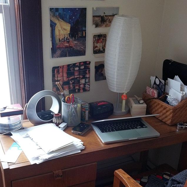 A photograph of poet Sophia Holtz's desk
