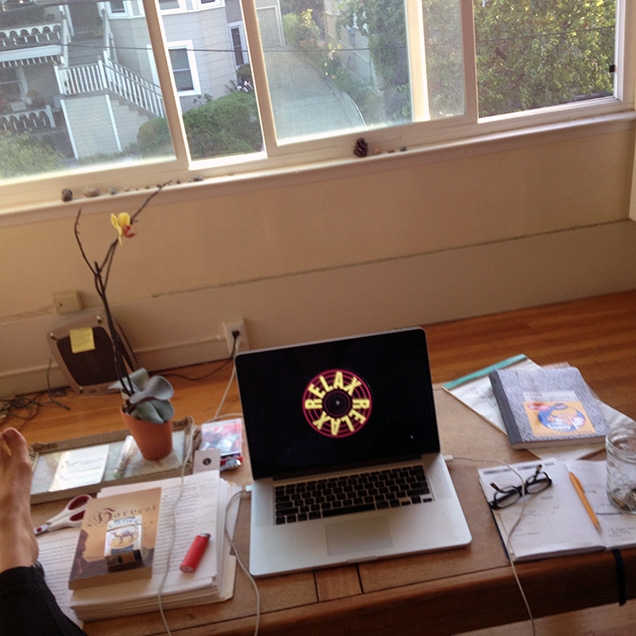 A photograph of the desk of  Ottessa Moshfegh
