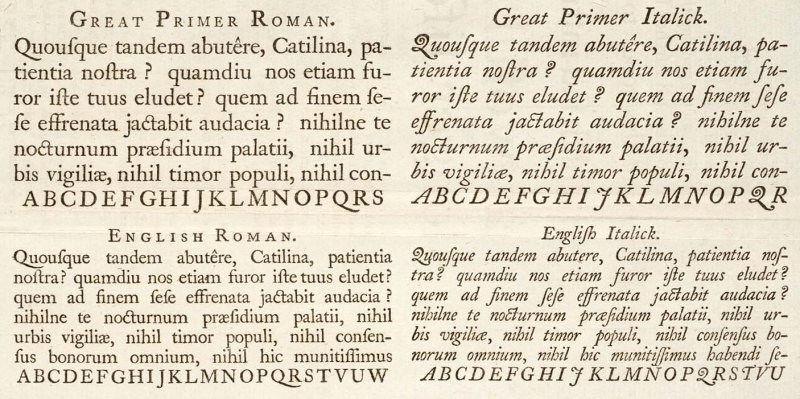 From a type specimen by William Caslon, 1728.