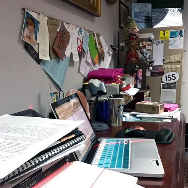 A photograph of the desk of Jessica Smith