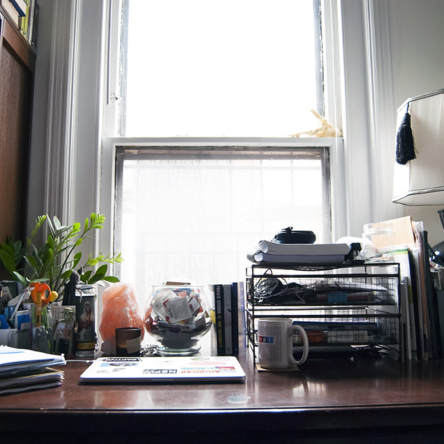 A photograph of the desk of Carmen Maria Machado