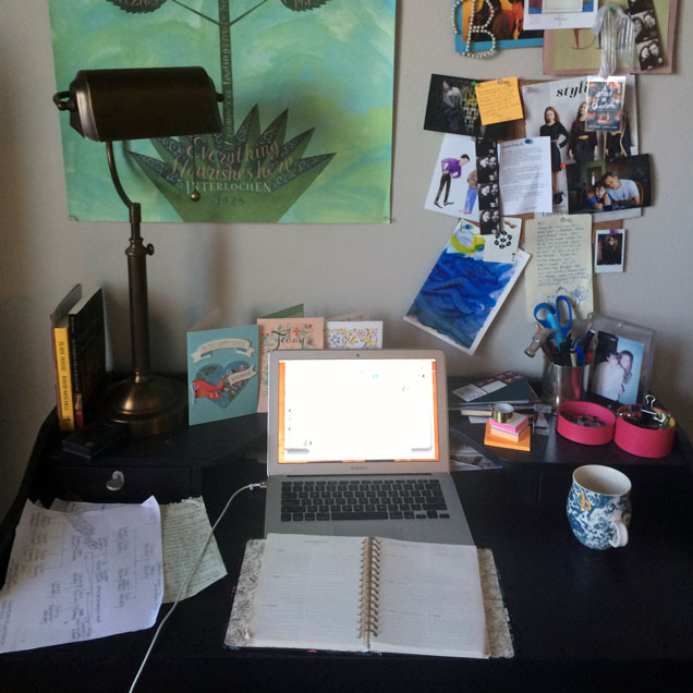 a photograph of the desk of writer Brittany Cavallaro
