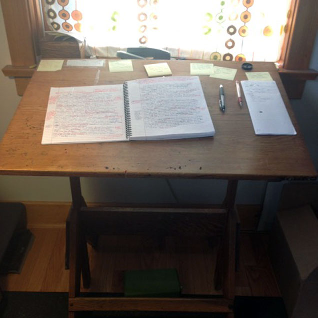 a photograph of the desk of author Curtis Smith