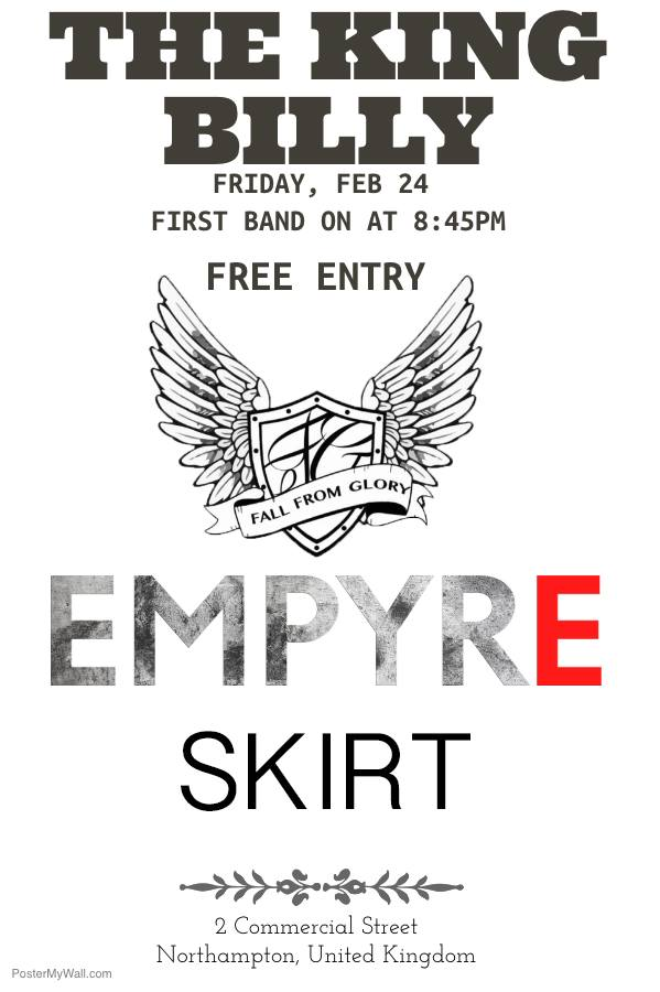 Free Gig: Empyre, Skirt, and Fall From Glory!