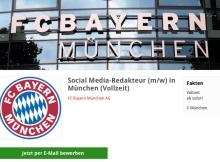 Ausschreibung Social-Media-Redakteur beim FC Bayern München