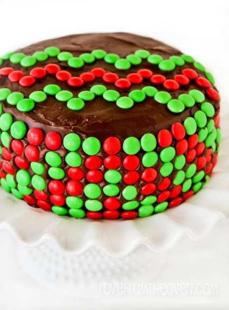 mnm chevron christmas cake