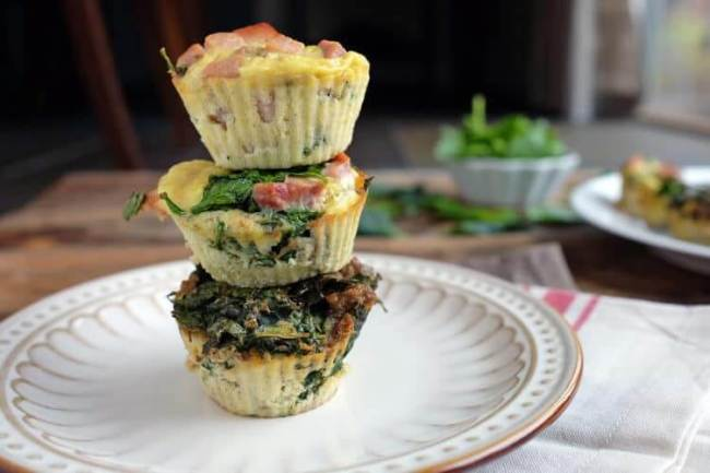 Paleo egg muffins stacked