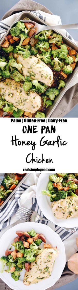 We LOVE the ease of a one pan dish. Our one pan honey garlic chicken has it all, including chicken, sweet potato, broccoli, and a slew of tasty seasonings. Paleo, Gluten-Free + Dairy-Free. | realsimplegood.com