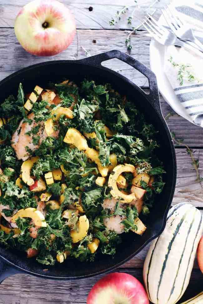 Fall flavors are the best! This Paleo + Whole30 one pan chicken apple and squash skillet is full of fall flavors and textures, and is all made in one pan! Paleo, Whole30, Gluten-Free + Dairy-Free. | realsimplegood.com