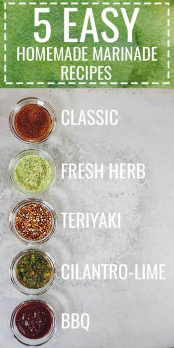 5 easy homemade marinade recipes that are perfect for any type of meat. Just whip up a quick marinade and easily add tons of flavor to your next meal. Paleo and Gluten Free. Classic, Fresh Herb, Teriyaki, Cilantro-Lime, BBQ marinades are perfect for chicken, steak, pork, white fish and shrimp. Some Whole30 options too! | realsimplegood.com