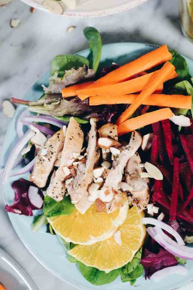 This fresh and colorful chicken and beet salad with orange is one that you will enjoy and look forward to! The dressing is amazing and Whole30 friendly, too!#paleo #whole30 #recipe   realsimplegood.com