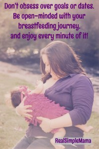 Don't obsess about achieving a specific goal when breastfeeding - just enjoy every minute that you have! - Real Simple Mama