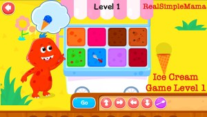Review: Coding for Kids App by Kidlo - Real Simple Mama color bright game play command sequence ice cream monster