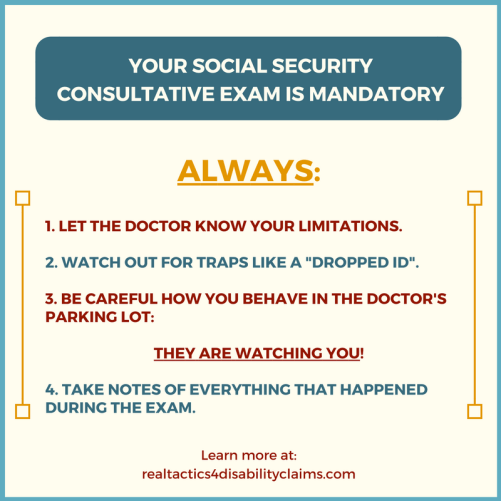 Your Social Security doctors exam is mandatory