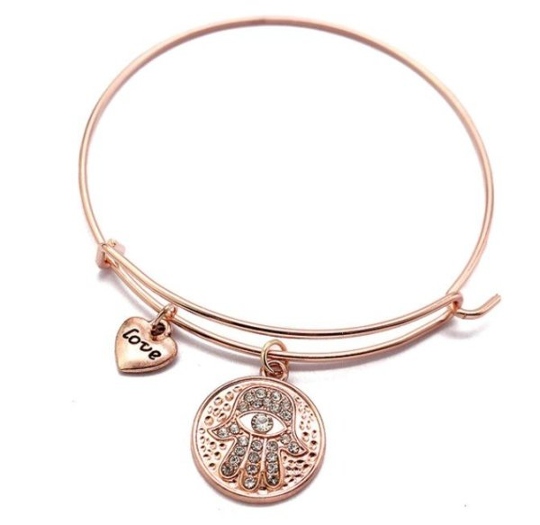 Women's Hamsa Hand Bangle Bracelet 1