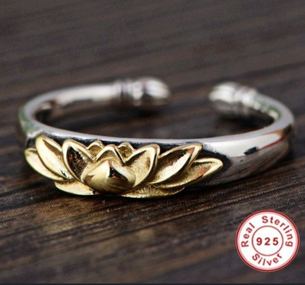 Women's 925 Sterling Silver Golden Lotus Ring 1