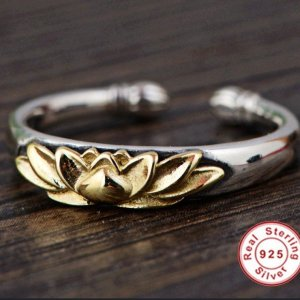 Women's 925 Sterling Silver Golden Lotus Ring 7