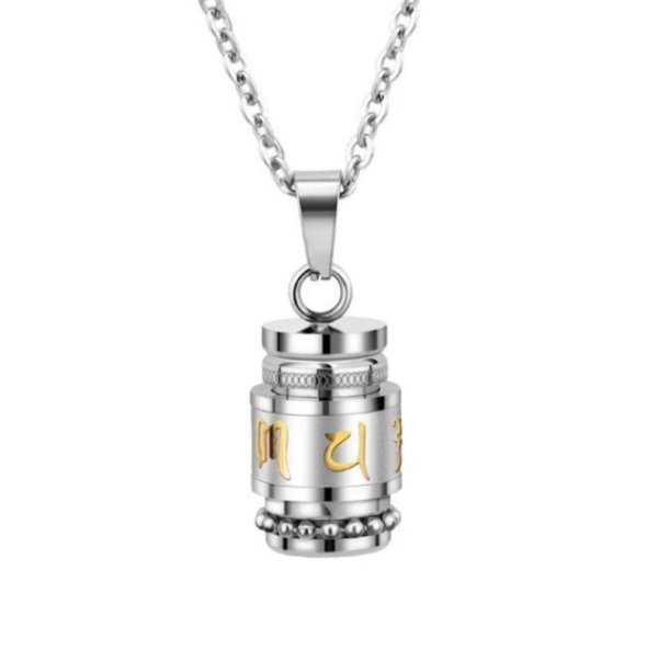 Prayer Wheel Stainless Steel Necklace 1