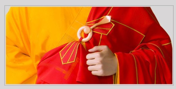 Men's Red and Yellow Style Buddhist Robe 5