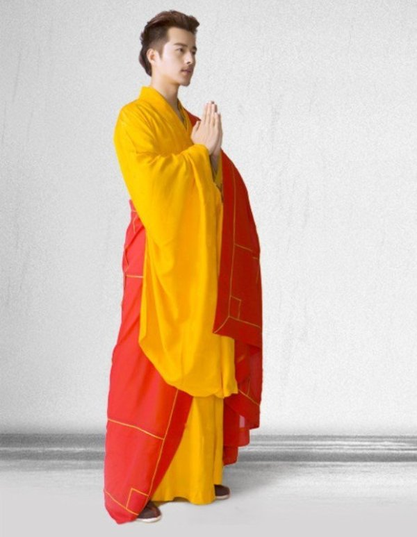 Men's Red and Yellow Style Buddhist Robe 3