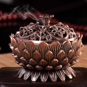 Sacred Lotus Copper Incense Burner 8