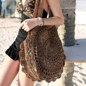 Women's Mandala Woven Straw Shoulder Bag 16