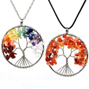 7 Chakra Jewelry - Tree of Life Pendant Amethyst Rose Crystal Necklace Gemstone 1