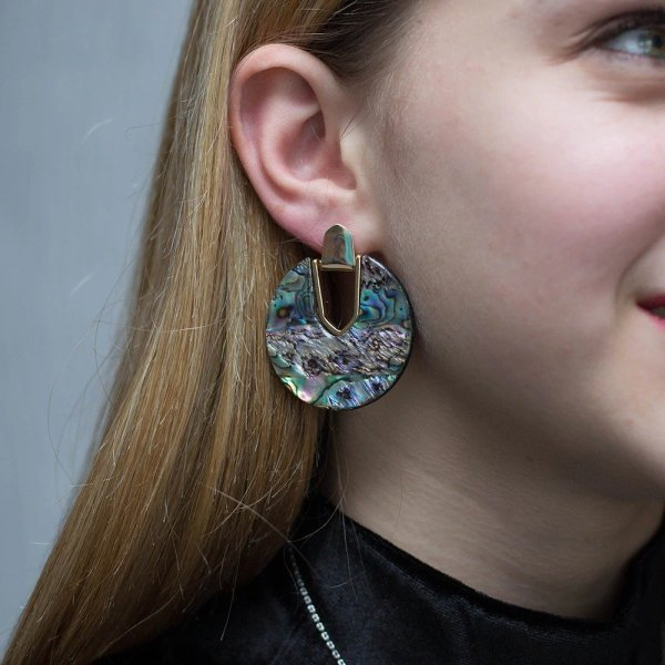 Aaliyah Statement Earrings in Abalone Shell (Just 2 Stunning ) 1